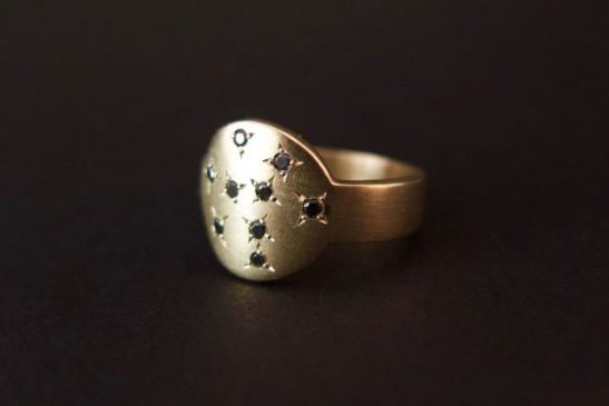 Nine black star coin ring